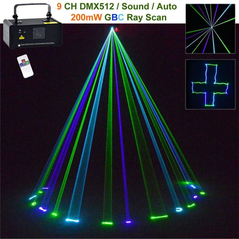 Mini Green Blue Cyan GBC Laser Stage Lighting Wireless Remote Sound 8 CH DMX Scanner Lamp DJ Party Show Projector Lights GBC200