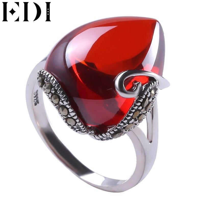 EDI 925 Серебряное кольцо красный гранат природный драгоценный камень кольца для женщин heartstone ruby Опал Обручальные Кольца Fine Jewelry