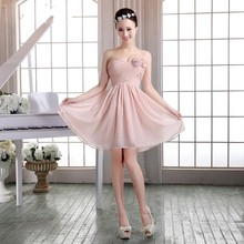2016 New Cheap Short Bridesmaid Dresses A-line Sweetheart Flowers Ruched Knee-Length Hot Sale