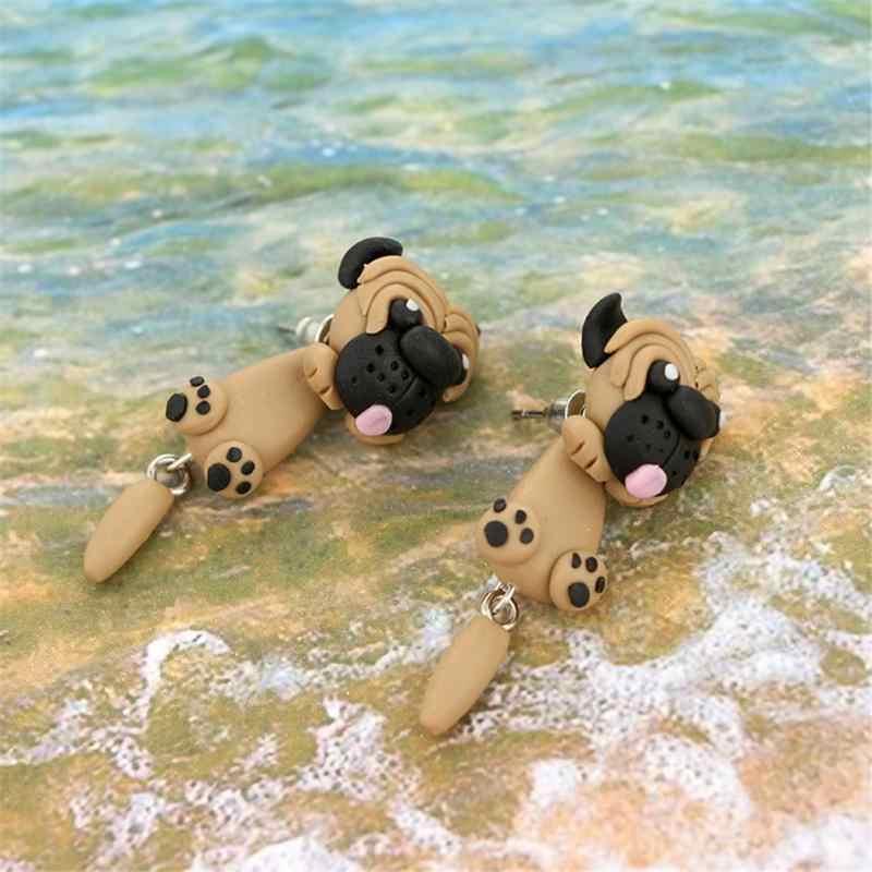 สไตล์ใหม่น่ารัก Bulldog สัตว์ Polymer Clay ต่างหูแยกประเภทหู Studs สำหรับผู้หญิงแฟชั่นของขวัญ Charm เครื่องประดับ
