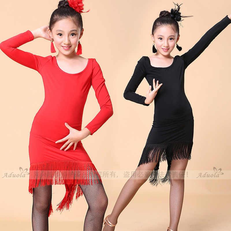 9aa8547d ... sobre Vestido de baile latino de manga larga para chicas, vestido de  baile de salón, vestido de mujer, borla Latina, Salsa, Rumba, trajes, ropa  de Tango ...