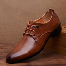 Big size 38-46 Hot sell Low top Oxford shoes dress British Style lace up Flats Pointed toe Men Leather shoes