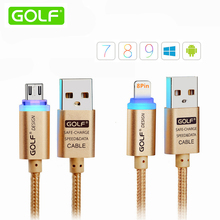 GOLF 1m Smart LED Auto Power-Off Charging Cable For iPhone 5 5s 6 Plus iPad iOS8/9 Android Phone Micro USB Data Sync Charge Wire
