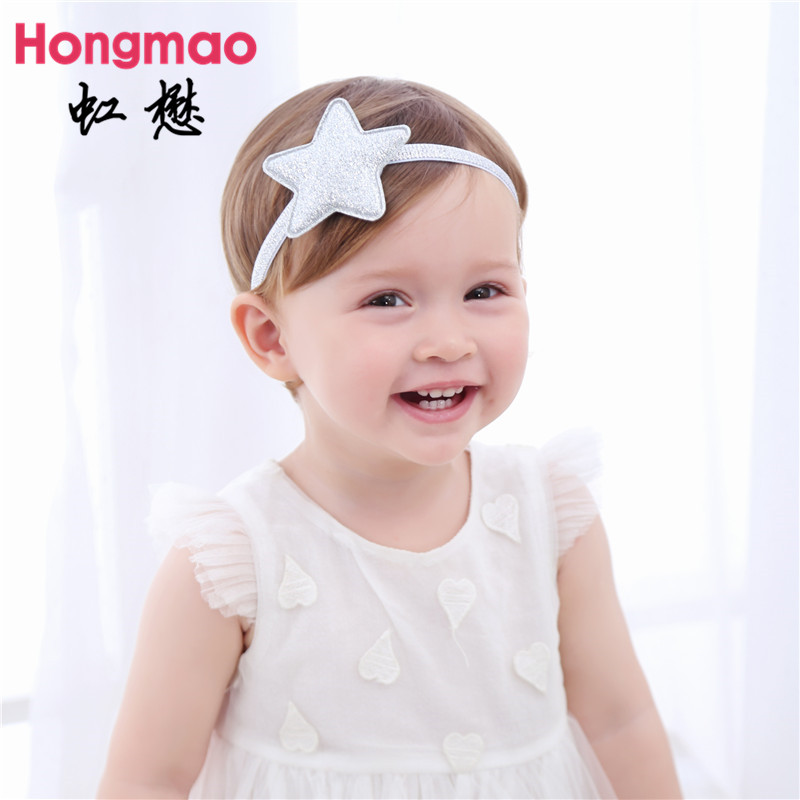 ON SALE 1PCS Children's Hair Accessories Baby Glitter Star Headband Elastic Hair Band Photo Props Head Band