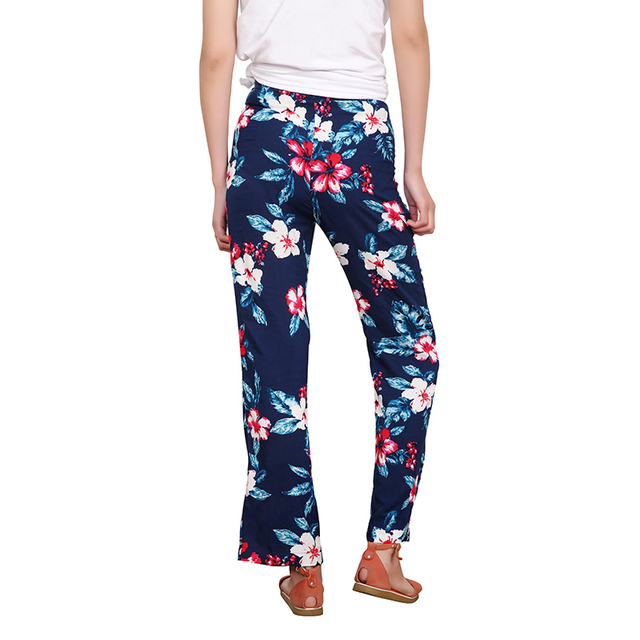 Floral Print Loose Retro Comfortable Casual Ladies Trousers 1