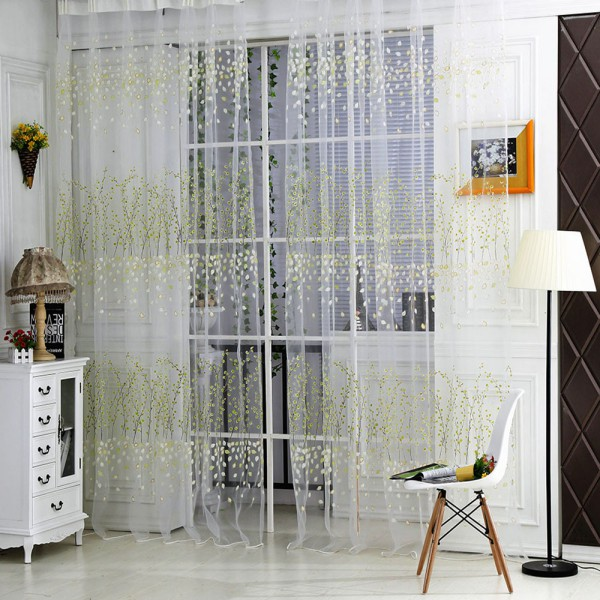 Cute Flower Leaf Sheer Curtain Living Room Bedroom Tulle Curtains Window Screen Cheep Voile Home Decorative Cl506 In From