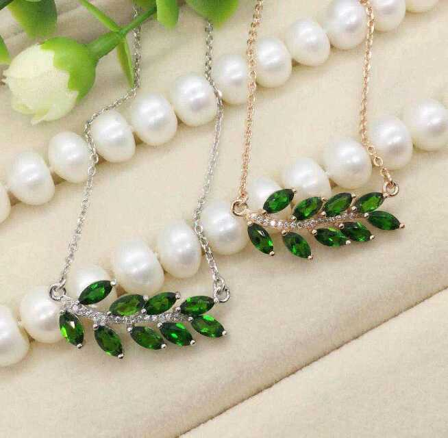 Natural green diopside stone Necklace natural gemstone Pendant Necklace S925 silver Fashion Elegant Leaves women fineJewelry digoo dg ea10 charger adapter plug removable version 3 12v universal 10 selectable multi voltage switching micro usb plug power