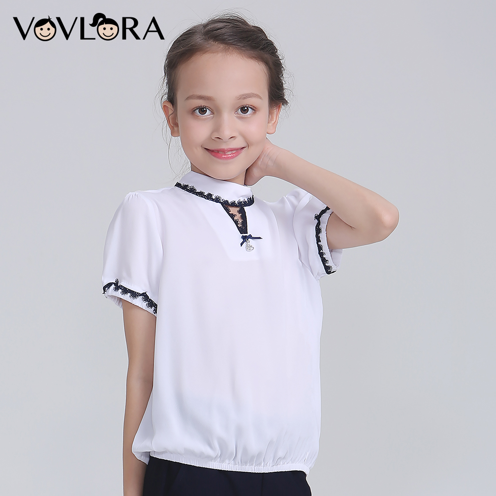 Short Sleeve Tops Chiffon Children Blouses For Girls White School Lace Kids Blouses Casual Autumn 2018 Size 7 8 9 10 11 12 Years navy round neck 3 4 length sleeves chiffon blouses