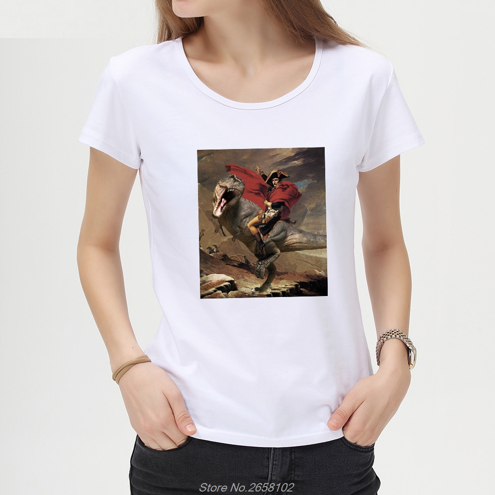 Contemplative Napoleon Rides Corgi/dinosaur Printed Short Sleeve Women T-shirt Lady Cool Design Tops Novelty Tees T Shirt Harajuku Streetwear To Make One Feel At Ease And Energetic