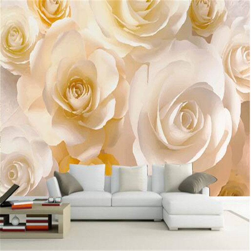 Modern Wallpaper for Walls 3D Non-Woven Murals Wall Papers For Living Room Home Decorative Gold Rose Flowers Murals Bedroom home improvement modern solid color non woven wallpaper for walls roll bedroom living room tv background wall papers home decor
