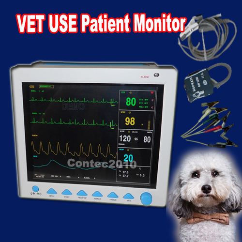 CONTEC CMS8000-VET ECG Blood Pressure SPO2 Pulse Rate Temperature Respiration VET Veterinary Use MultiParameter Patient Monitor contecmed contec08c with adult spo2 vet blood pressure monitor