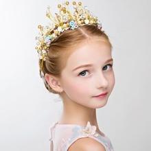 Детский головной убор в виде короны принцессы для девочек, повязка на голову в виде милой короны, Хрустальный цветок, аксессуары для свадебной вечеринки, реквизит для фотосессии