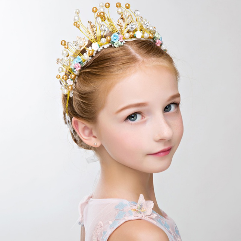 Children's Crown Headdress Princess Girl Crown Headband Cute Crown Crystal Flower Wedding Party Accessories Photography Props
