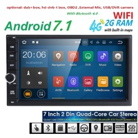 2 Din Android 7 1 OS 2GB RAM 16GB ROM Car Radio GPS Navigation Quad Core