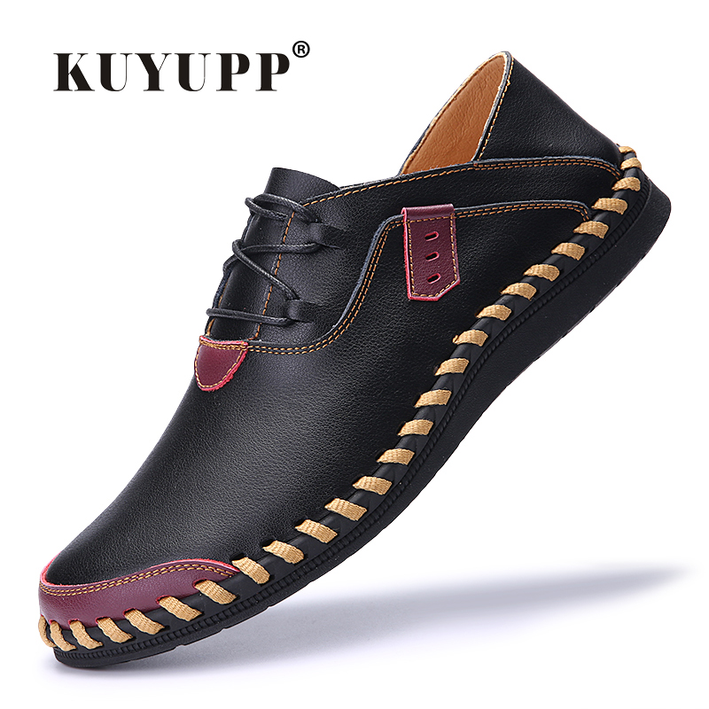 где купить 2017 New Genuine Leather Men Loafers Flat Heel Round Toe Casual Shoes Size 38-44 Spring Breathable Lace Up Flats Men's Shoes F24 дешево