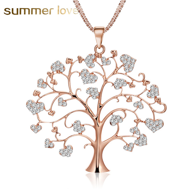 Flower tree of life necklace for women love heart crystal pendant flower tree of life necklace for women love heart crystal pendant necklace goldsilver color aloadofball Gallery