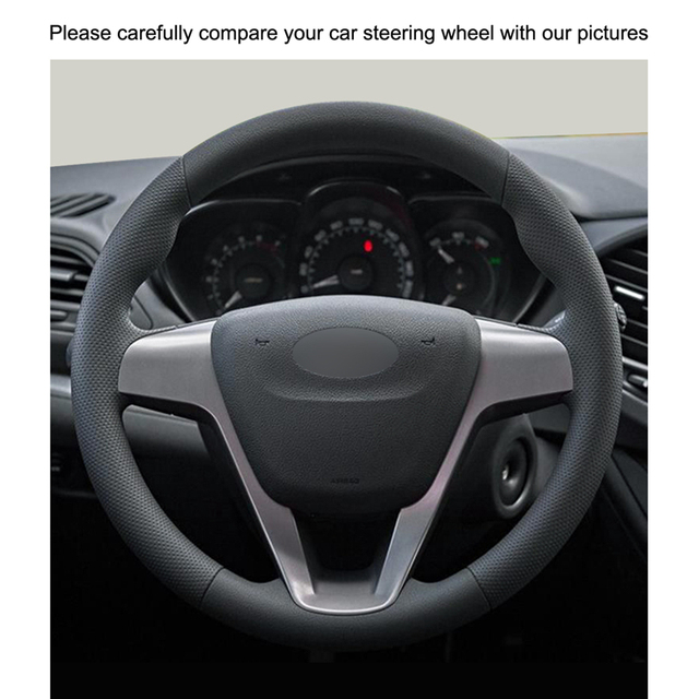 Hand-stitched Black PU Artificial Leather Car Steering Wheel Cover for Lada Vesta 2015-2017