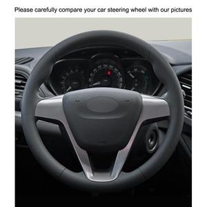 Image 3 - יד תפור שחור PU מלאכותי עור רכב הגה כיסוי לאדה סטה 2015 2016 2017 2018 2019 2020 xray 2015 2020