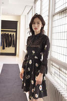 Brand Fashion Women S High End Luxury Casual Sweet Daisy Printed Bowknot Horn Lace Dress Female