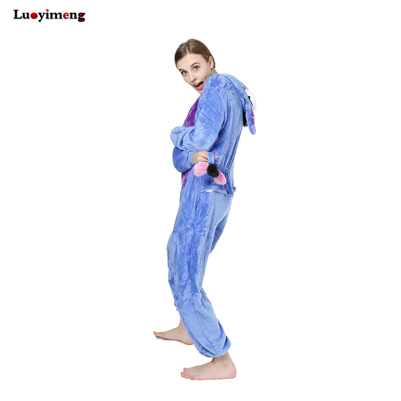New Onesies Anime Donkey Eeyore Pajamas One Piece Pyjama Animal Suits Costumes Adult Flannel Cartoon Hooded Sleepwear For Women