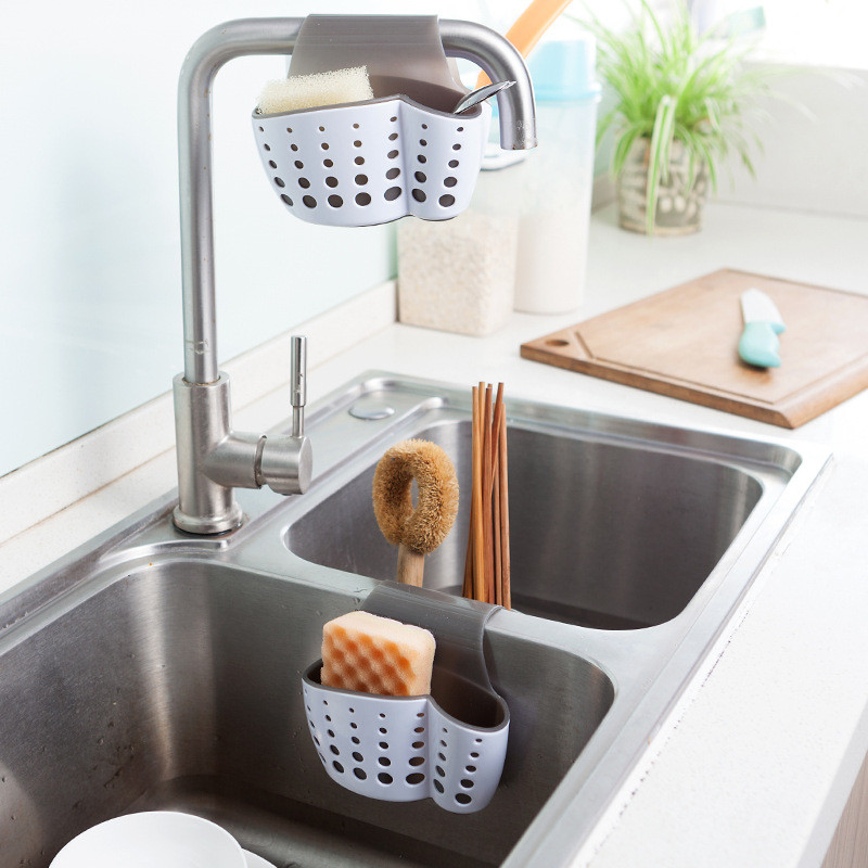 Kitchen Accessories Double Side Sink Drying Basket Storage Rack Bag Faucet  Hanging Bag Cleaning Sponge Clothes Organizer Holder  In Storage Bags From  Home ...