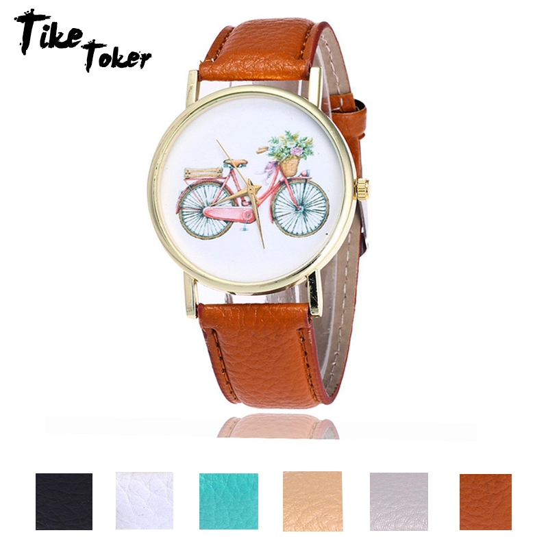 TIke Toker,Bicycle Watch Casual Women Ladies Wrist Watches Vintage Leather Quarzt Watches Relogio Feminino 2018 New 07