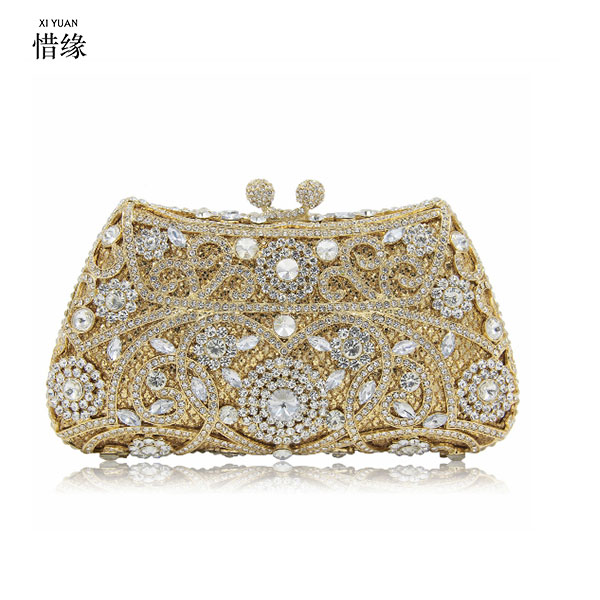 XIYUAN BRAND gold Rhinestone Crystal Diamond evening bags for valentines Luxury silver Clutch Bag Wedding bride day cluthes 03 red gold bride wedding hair tiaras ancient chinese empress hat bride hair piece