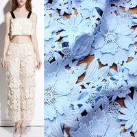 Blue Pink Printing Mesh Lace Fabric Fashion Cotton Fabric For Dress Tissu Au Metre Pour Habillement