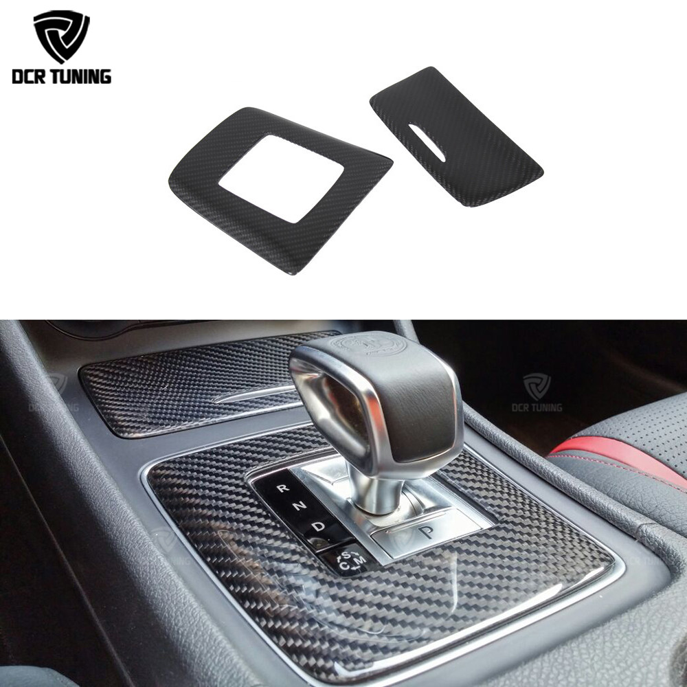 For <font><b>Mercedes</b></font> A45 <font><b>CLA45</b></font> GLA45 <font><b>AMG</b></font> Carbon Fiber Gear Surround Compartment Cover Interior Trim Accessories image