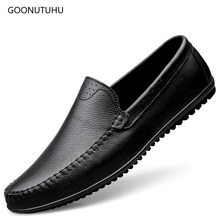 цена на 2019 summer fashion men's shoes casual genuine leather cow loafers male slip-on breathable flat shoes for men driving shoe man