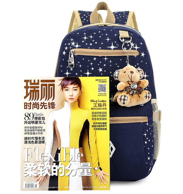 three-piece Luggage & Bag Casual Travel Pack Women Canvas Backpack Schoolbag School Bag For girl Teenagers Rucksack 5