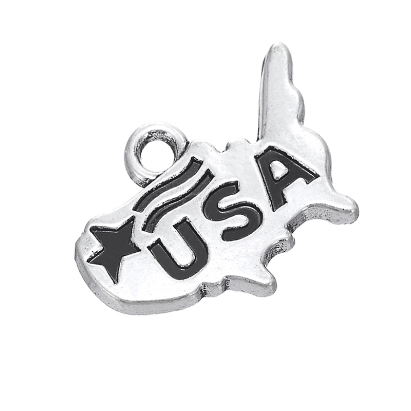 Silver United States with Flag Map Dangle Charms Jewelry DIY Findings Fit Bracelet Necklace 50PCS