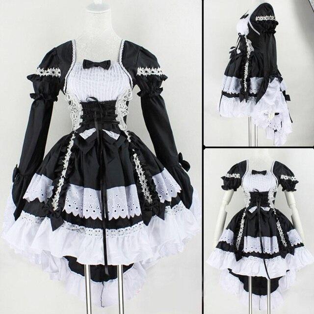 2017 Mode Anime Engel Der Liebe Prinzessin Kleid Cosplay Kostum Schone Maid Service Schwarz Und Weiss