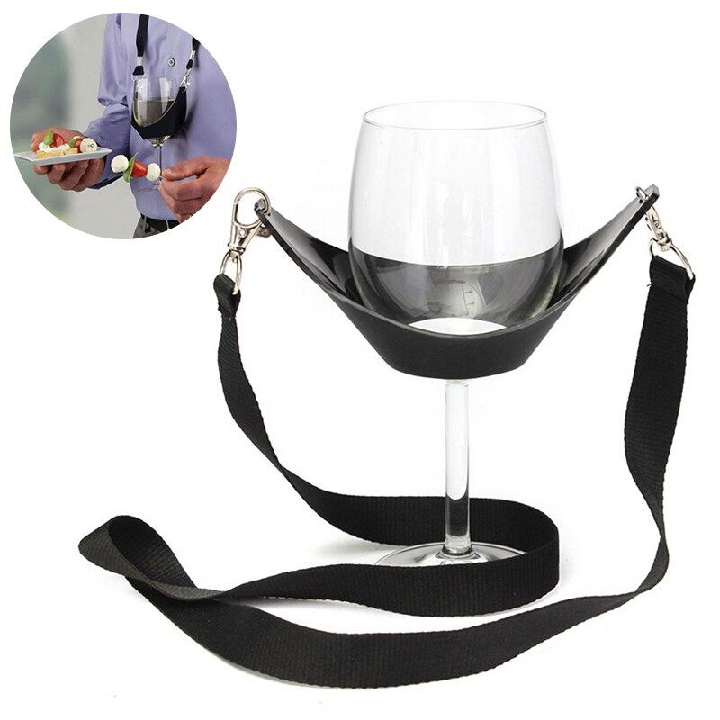 1 St Wijn Juk Lanyard Draagbare Wijnglas Houder Ondersteuning Strap Voor Verjaardag Cocktail Party Zwart Glas Nekkoord