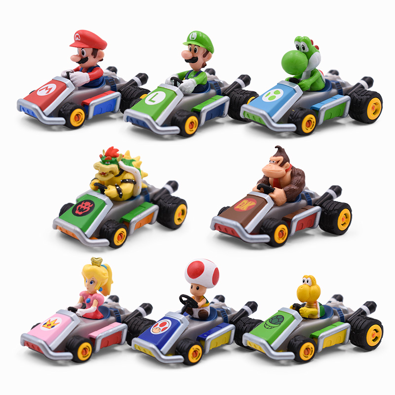 8 Style Mario Bros Luigi Yoshi Koopa Peach Mario Kart Pull Back Car PVC Action Figure Toys Model Dolls Toy For Kids Gift
