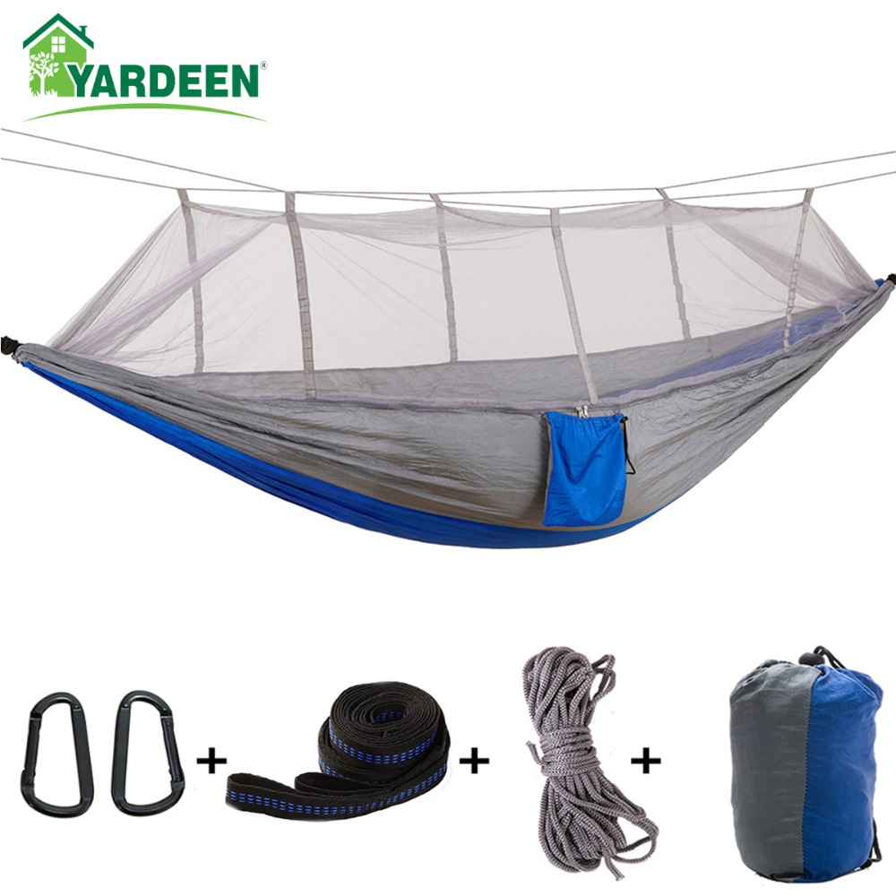 1-2 Person 260*140cm Camping Hammock Outdoor Mosquito Bug Net Portable Parachute Nylon Hammock For Sleeping Travel Hiking