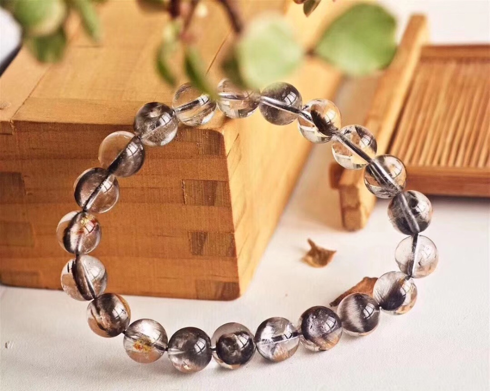 Natural Brookite Platinum Silver Rutilated Quartz Bracelet  (3)