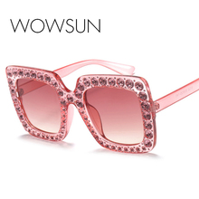 WOWSUN New Fashion Oversize Crystal Rim Sunglasses Women Retro Brand Designer for Female Square Sun Glasses UV400 A152 цена 2017