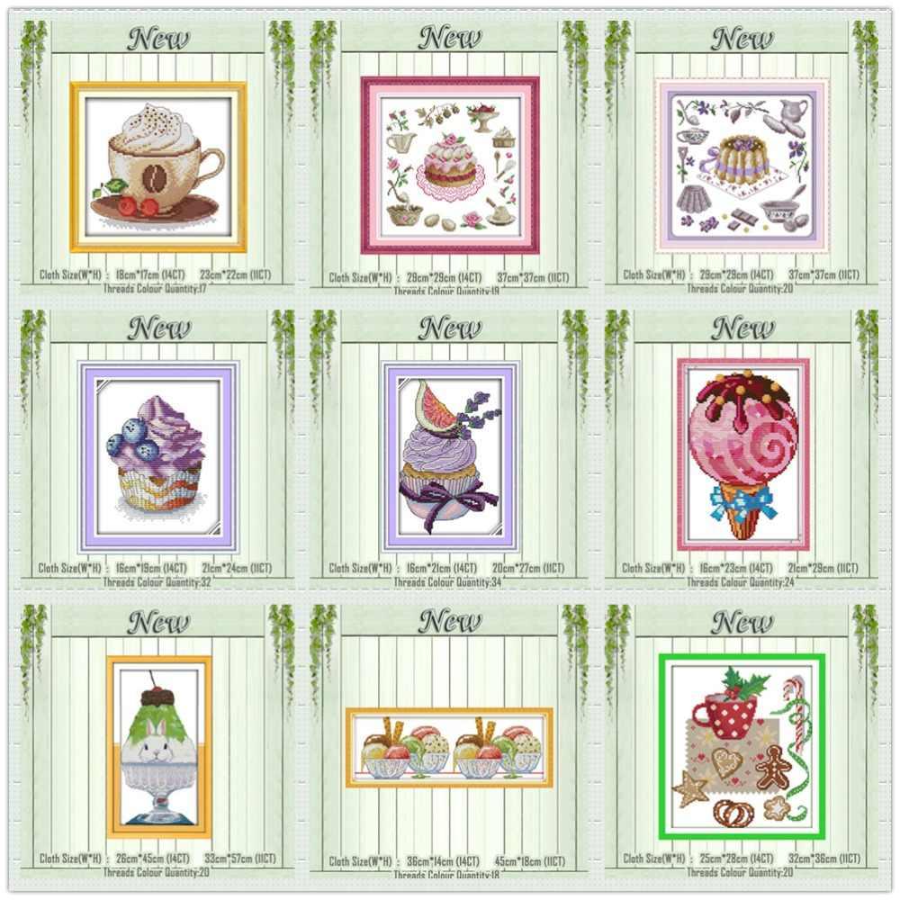 Ice cream Pomeriggio All'ora del tè Della Torta pittura contati stampa su tela DMC 11CT 14CT kit di ricamo A Punto Croce ricamo set