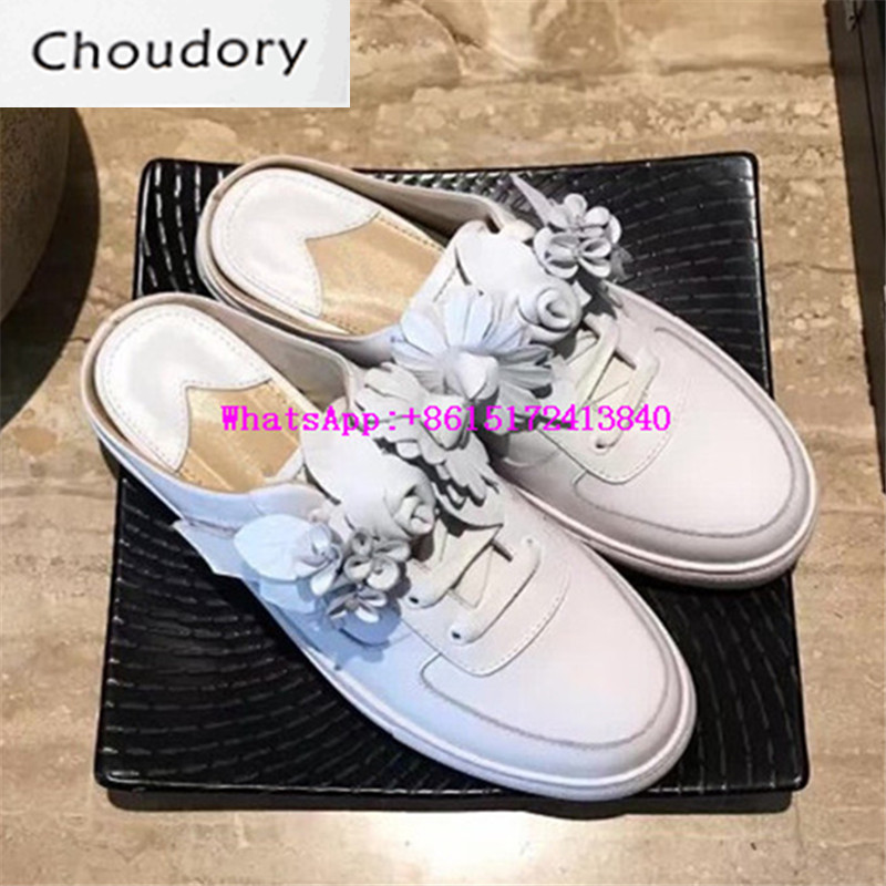 Choudory Sweet Platform Slip-On Round Toe Women Casual Shoes Designer Low Heels White Slippers Lace-Up Slingbacks Women Pumps