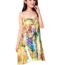 Купить с кэшбэком 2016 Diamond V-Neck Print dress sexy sling pajamas Home