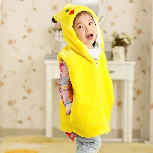 Pokemon moda zip suéter sin mangas de los niños sudaderas con capucha niños y niñas