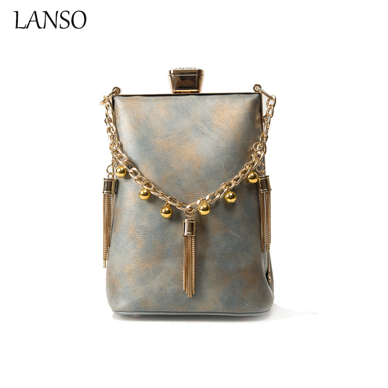 LANSO Fashion Tassel Chain Handbag Pu Leather Banquet Ladies Beading Clutch Evening Bag Hasp Mini Messenger Bag Purse  2016 fashion mini laser metal chain letters pu leather clutch purse wallet chain messenger bag shoulder bag handbag 6 colors