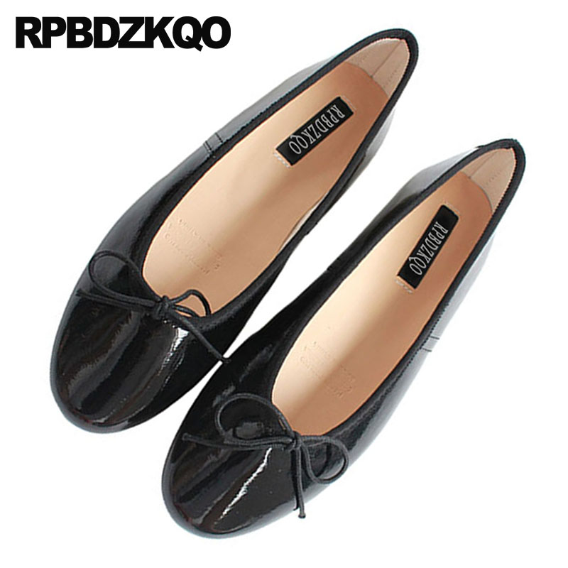 fbd4078c1022 Blue Slip On Flats Women Chinese Patent Leather Bow Shoes Cute Ballerina  Round Toe Foldable Ballet