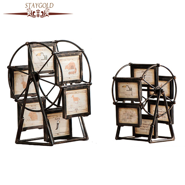 STAYGOLD Vintage Home Decor Shabby Chic Ferris Wheel Frame Rotating  Windmill Home Decoration Accessories Enfeites Para