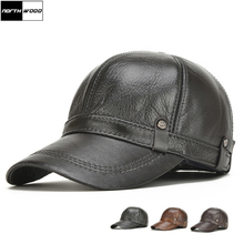 NORTHWOOD gorras de béisbol de cuero genuino para hombre, gorros de béisbol de alta calidad con Cierre trasero, gorras de béisbol masculinas