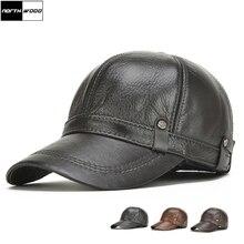 [Northwood]新しい高品質本革野球キャップ耳フラップスナップバック帽子メンズ冬の野球キャップ帽子骨masculino