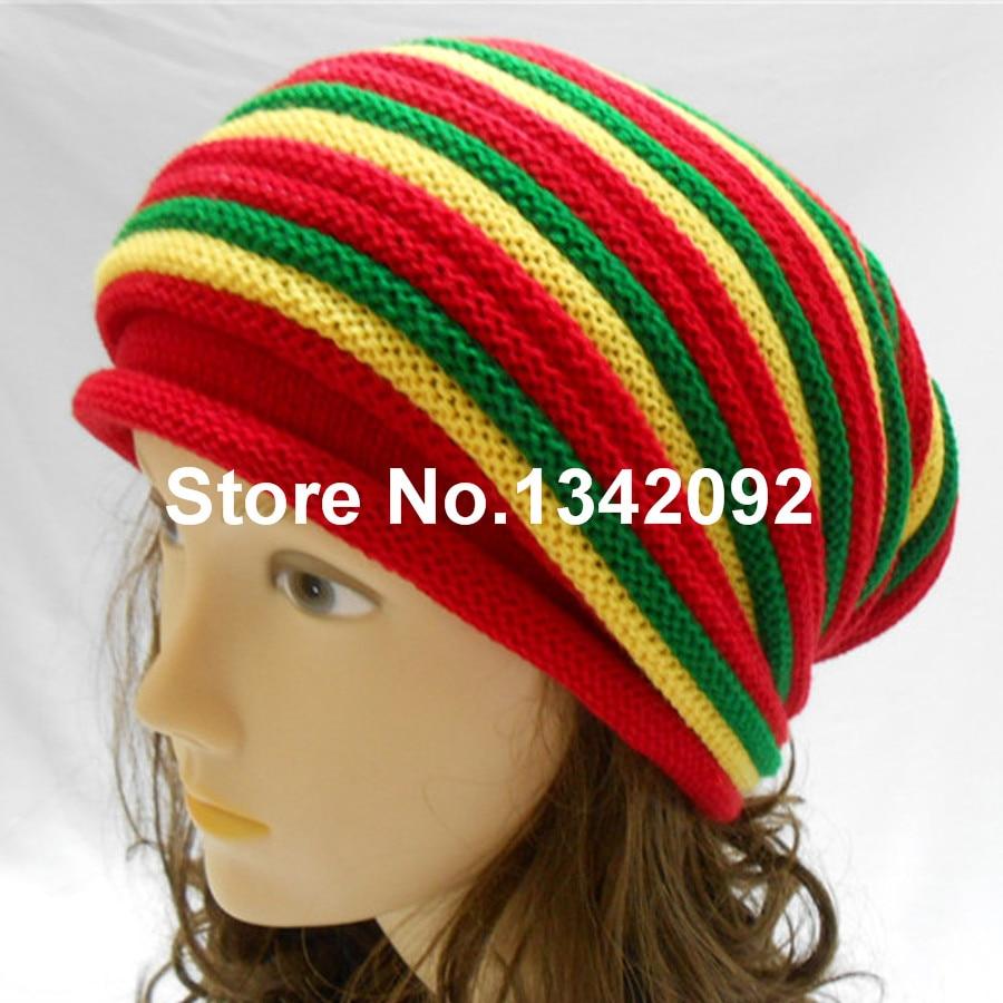 2015 New Fashion Gorro Rasta Beanie Hat Men Women Jamaica Bob Marley Slouch  Baggy Winter Warm Skull Cap 76a67ae7959