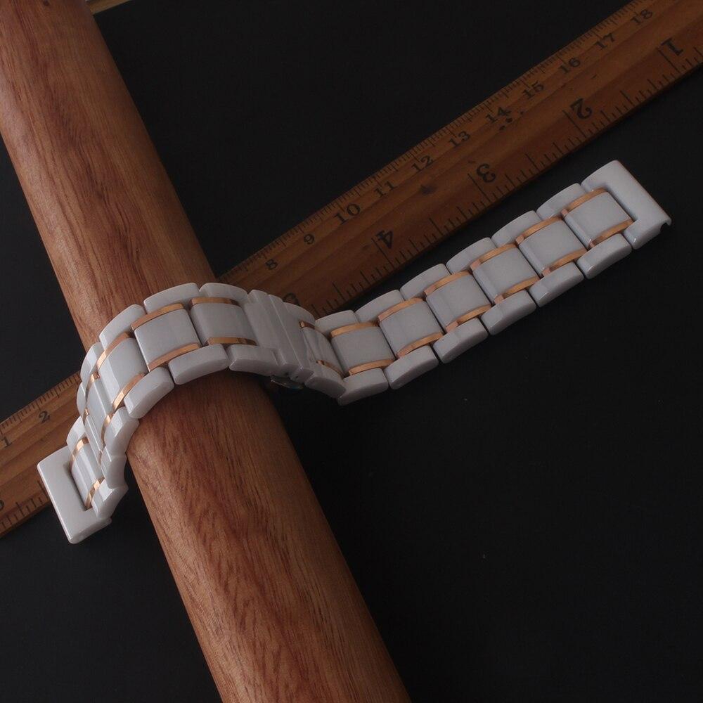 Fit Samsung Galaxy Bracelets de montre Bracelet Bracelet haute qualité en céramique polie Bracelets hommes femmes blanc avec or rose - 3
