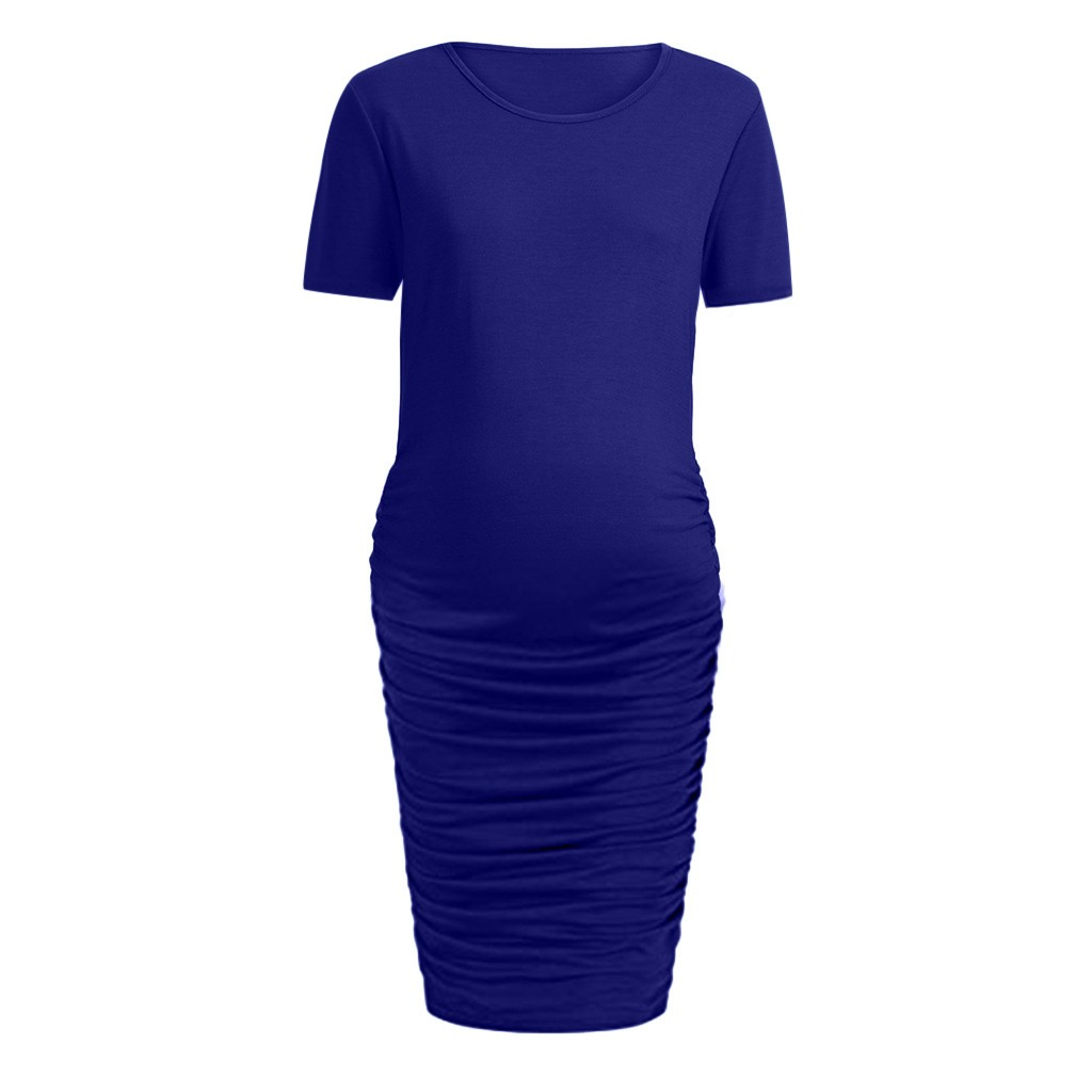 Mom Maternity Pregnancy Dress Ruched Solid Dresses Maternity Clothes 2019 Summer Long Sleeve Maternity Dresses For Pregnant Платье